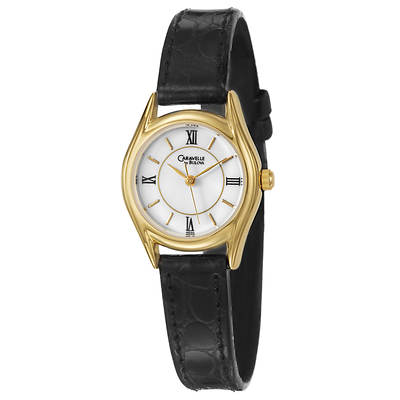 Caravelle by Bulova Women's Black Leather Strap Watch in Yellow Gold-Plated Stainless Steel