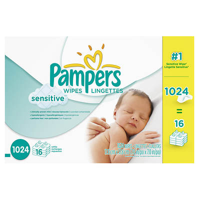 Pampers Sensitive Skin 64-Count Baby Wipe Refill, 16-Pk