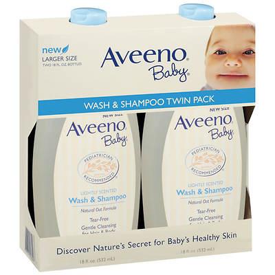 Aveeno Baby Wash and Shampoo, 18 Fl. Oz., 2-Pk