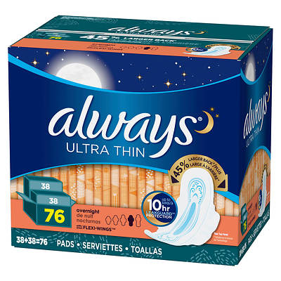 Always Ultra Thin Overnight Pads with Flexi-Wings, 76 Count