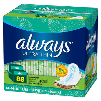Always Ultra Thin Long and Super Pads with Flexi-Wings Multipack, 88 Count