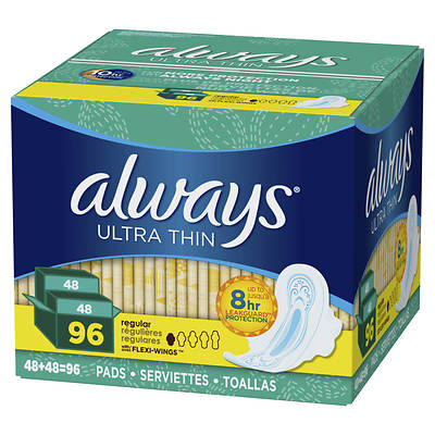 Always Ultra Thin Regular Pads with Flexi-Wings, 96 Count