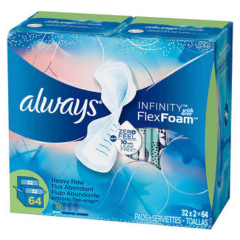 Always Infinity Super Maxi Pads with Wings, 64 ct.