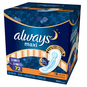 Always Maxi Overnight Pads with LeakGuard, 72 Count