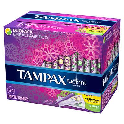 Tampax Radiant Plastic Tampons Regular/Super Multipack, 84 Count