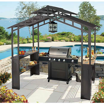 Living Home Outdoors Grill Gazebo with LED Chandelier