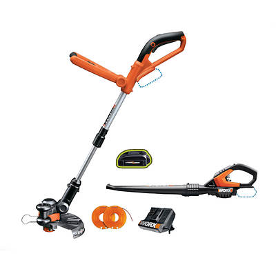 "WORX 24V Lithium 10"" Cordless Grass Trimmer/Edger and Sweeper/Blower Combo Kit"