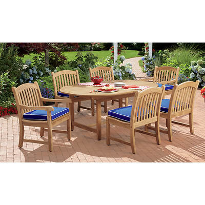 Living Home Outdoors Montauk 7-Piece Teak Dining Set