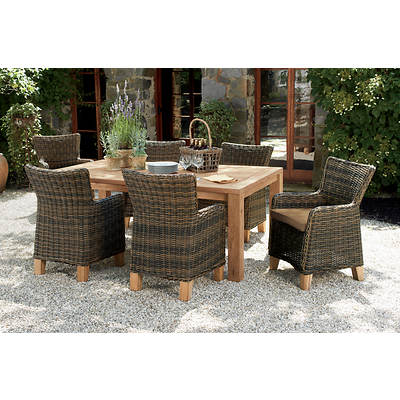 Living Home Outdoors Hatteras 7-Piece Teak/Wicker Dining Set