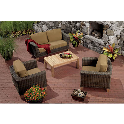 Living Home Outdoors Hatteras 4-Piece Teak/Wicker Patio Set