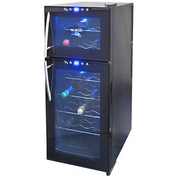 NewAir 21-Bottle Dual-Zone Thermoelectric Wine Cooler - Black