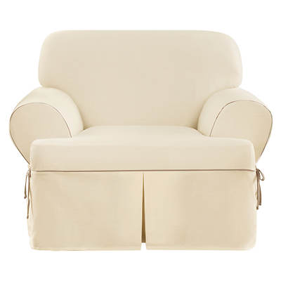 Sure Fit CVC Contrast Cord Duck T-Cushion Chair Slipcover - Natural/Cocoa