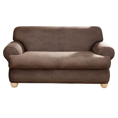 Sure Fit Stretch Leather 2-Piece T-Cushion Loveseat Slipcover - Brown