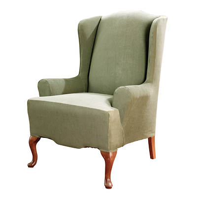 Sure Fit Stretch Stripe Wing Chair Slipcover - Sage