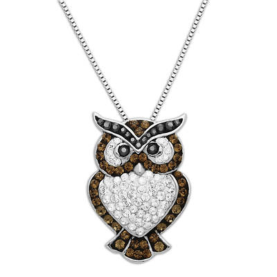Lauren Taylor 1.10 ct. t.w. Swarovski Crystal Elements Owl Pendant Necklace in Sterling Silver