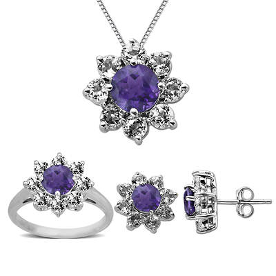 5.60 ct. t.w.  Amethyst and Created White Sapphire  3-Piece Jewelry Set in Sterling Silver