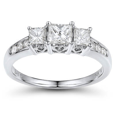 1.00 ct. t.w. Round and Princess-Cut Diamond Past, Present and Future Anniversary Ring in 14K White Gold