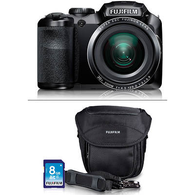 "Fujifilm FinePix S6800 16MP 3"" LCD 30x Optical Zoom Digital Camera Bundle with Bonus 8GB Flash Memory Card"