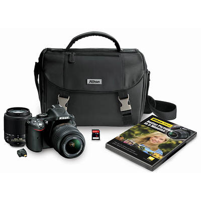 "Nikon D5200 24MP 3"" LCD SLR Digital Camera Bundle with 18-55mm, 55-200mm VR Lens and 16G SD Card"