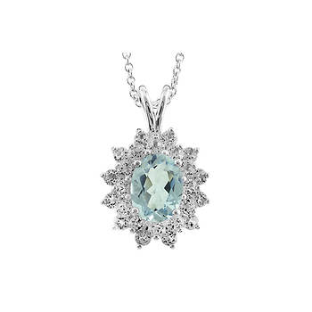 1.75 ct. t.w. Aquamarine and White Topaz Pendant Necklace in Sterling Silver