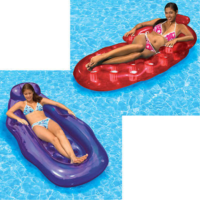 Poolmaster Riviera Wet/Dry Sun Lounge and French Oval Lounge Combo - Purple/Red