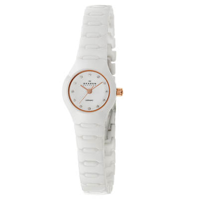 Skagen Ceramic Women's Swarovski Crystal Bracelet Watch in White Ceramic