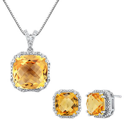 Citrine and Diamond Accent Pendant Necklace and Earring Set in Sterling Silver