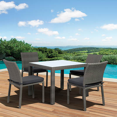 Atlantic Panama 5-Piece Dining Set Bonus FeronGard Vinyl Preservative - Grey/Grey
