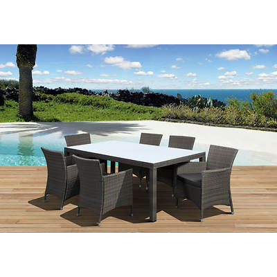 Atlantic Panama Deluxe 7-Piece Dining Set with Bonus FeronGard Vinyl Preservative - Grey/Grey