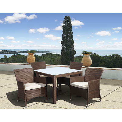 Atlantic Panama Deluxe 5-Piece Dining Set with Bonus FeronGard Vinyl Preservative - Brown/Off-White