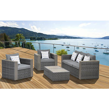 Atlantic Mumbai 5-Piece Patio Set with Bonus Feron Gard Vinyl Preservative - Gray/Gray