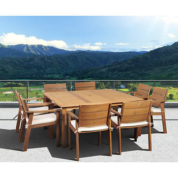 Amazonia Santiago 9-Pc. Eucalyptus Dining Set with Bonus Feron's Wood Sealer/Preservative