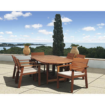 Amazonia Santiago 7-Piece Eucalyptus Dining Set with Bonus Feron's Wood Sealer/Preservative