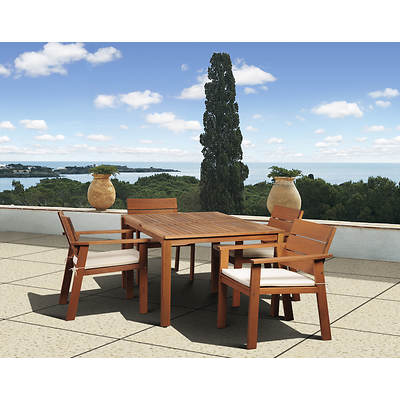 Amazonia Santiago 5-Piece Rectangular Eucalyptus Dining Set with Bonus Feron's Wood Sealer/Preservative
