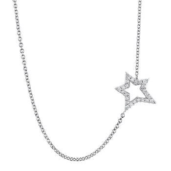.10 ct. t.w. Round Diamond Open Star Sideways Pendant Necklace in Sterling Silver