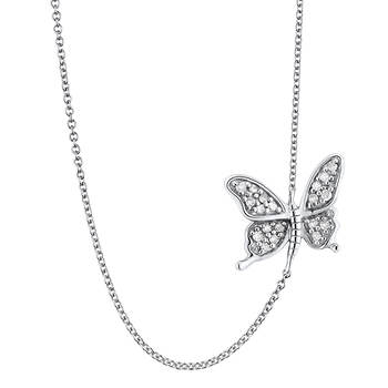 .10 ct. t.w. Round Diamond Butterfly Sideways Pendant Necklace in Sterling Silver