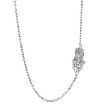 .10 ct. t.w. Round Diamond Hamsa Sideways Pendant Necklace in Sterling Silver