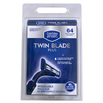 Berkley & Jensen Twin Blade Plus Disposable Razor, 64 Count