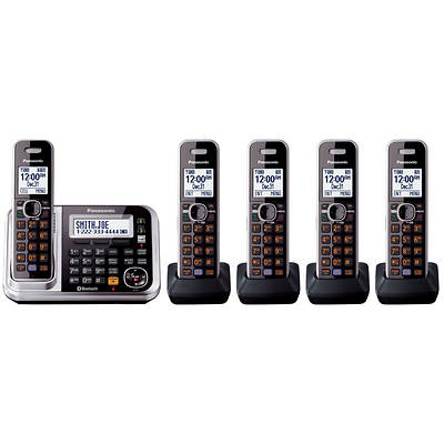 Panasonic DECT 6.0 5-Handset Bluetooth Cordless Telephone System with Digital Answering System