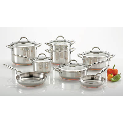 Living Home Kitchen 13-Piece Stainless Steel Cookware Set 5-Ply Copper Core Impact Bonded Bases