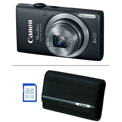"Canon PowerShot ELPH 115 16MP 2.7"" LCD 8x Optical Zoom Digital Camera Bundle - Black"
