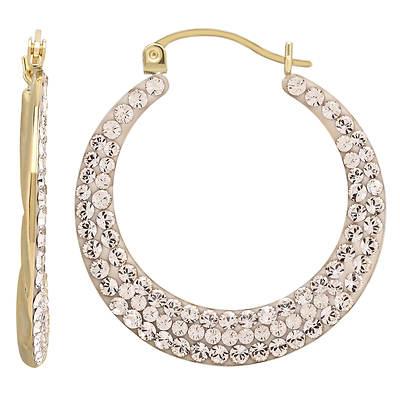 2.70 ct. t.w. Light Champagne Swarovski Crystal Twist Hoop Earrings in 14K Yellow Gold