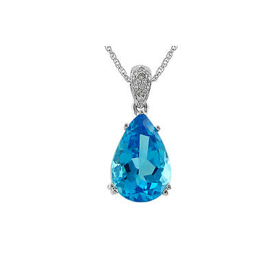 6.30 ct. t.w. Swiss Blue Topaz and Diamond Pendant Necklace in Sterling Silver