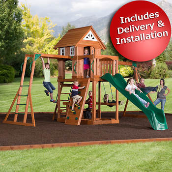 Backyard Discovery Pioneer Swing Set with Bonus 2-Person Glider