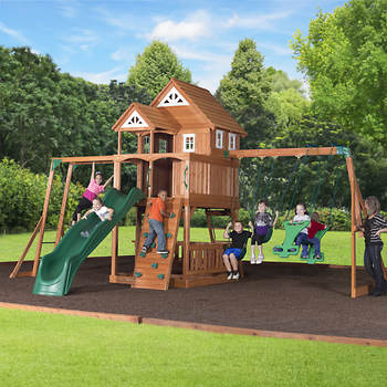 Backyard Discovery Mountaineer Swing Set with Bonus 2-Person Glider