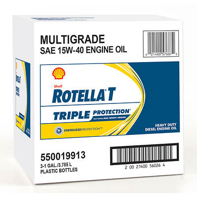 Shell Rotella T Triple Protection 1-Gal. Multigrade SAE 15W-40 Engine Oil, 3-Pk