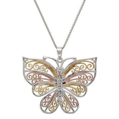 Diamond Accent Butterfly Pendant Necklace in Tri-Color Gold Over Silver