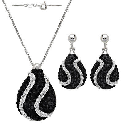 4.40 ct. t.w. Pear-Shaped Black and Clear Swarovski Crystal Element Drop Pendant Necklace and Earrings Set in Sterling Silver