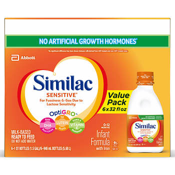 Similac Sensitive Ready to Feed Infant Formula, 32 Fl.Oz., 8-Pk