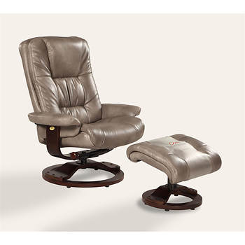 Oslo Collection Bonded Leather Swivel Recliner with Ottoman - Cloud/Alpine